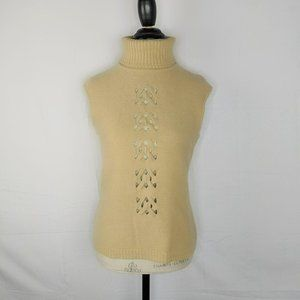 Escada Cream Knit Weave Cut Out Turtle Neck Vest